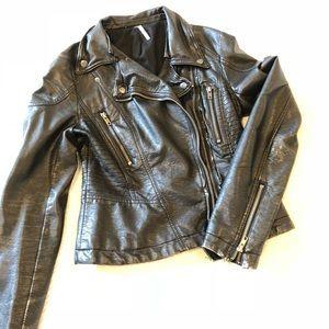 Free People vegan leather moto jacket
